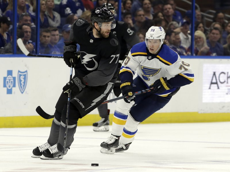 Tampa Bay Lightning defenseman Victor Hedman (77) looks to pass in front of St. Louis Blues center Oskar Sundqvist (70) during the first period of an NHL hockey game Thursday, Feb. (AP Photo/Chris O'Meara)
