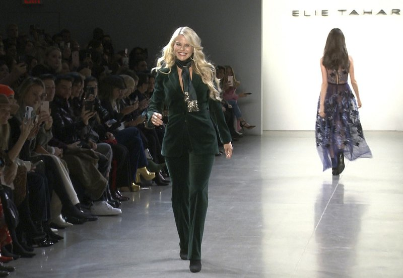 This image taken from video shows model Christie Brinkley walking the runway at the Elie Tahari show during Fashion Week in New York on Thursday, Feb. (AP Photo/Aron Ranen)