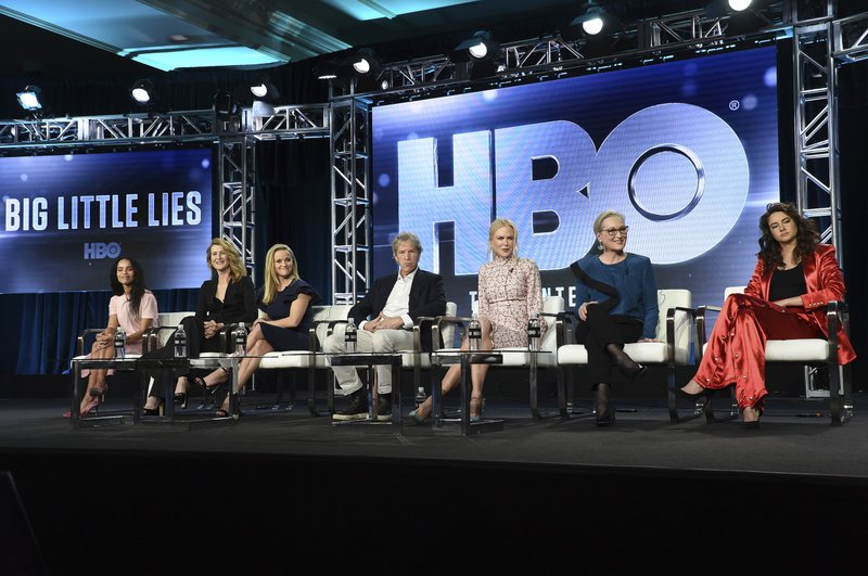 Zoe Kravitz, from left, Laura Dern, Reese Witherspoon, David E. Kelley, Nicole Kidman, Meryl Streep and Shailene Woodley participate in the