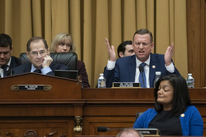 Rep. Doug Collins, R-Georgia, the top Republican on the House Judiciary Committee, objects to Judiciary Committee Chairman Jerrold Nadler, D-N. (AP Photo/J. Scott Applewhite)