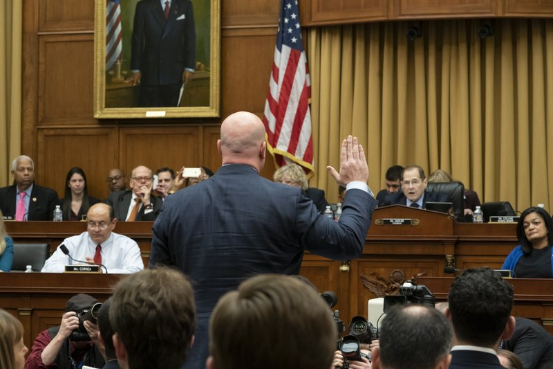 Acting Attorney General Matthew Whitaker is sworn in to testify before the House Judiciary Committee by Chairman Jerrold Nadler, D-N. (AP Photo/J. Scott Applewhite)