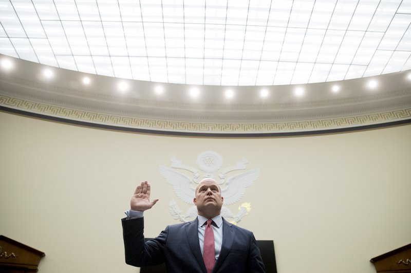 Acting Attorney General Matthew Whitaker is sworn in before the House Judiciary Committee on Capitol Hill, Friday, Feb. (AP Photo/Andrew Harnik)