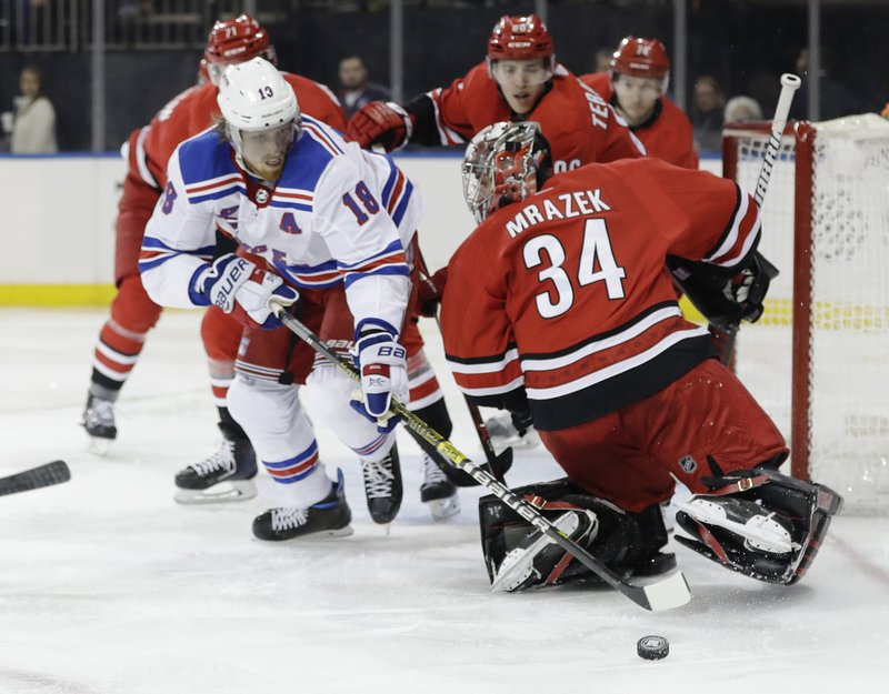 New York Rangers' Marc Staal (18) reaches past Carolina Hurricanes goaltender Petr Mrazek (34) for the puck during the second period of an NHL hockey game Friday, Feb. (AP Photo/Frank Franklin II)