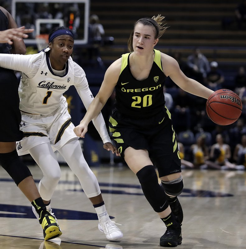 Oregon's Sabrina Ionescu, right, drives past California's Asha Thomas during the first half of an NCAA college basketball game Friday, Feb. (AP Photo/Ben Margot)