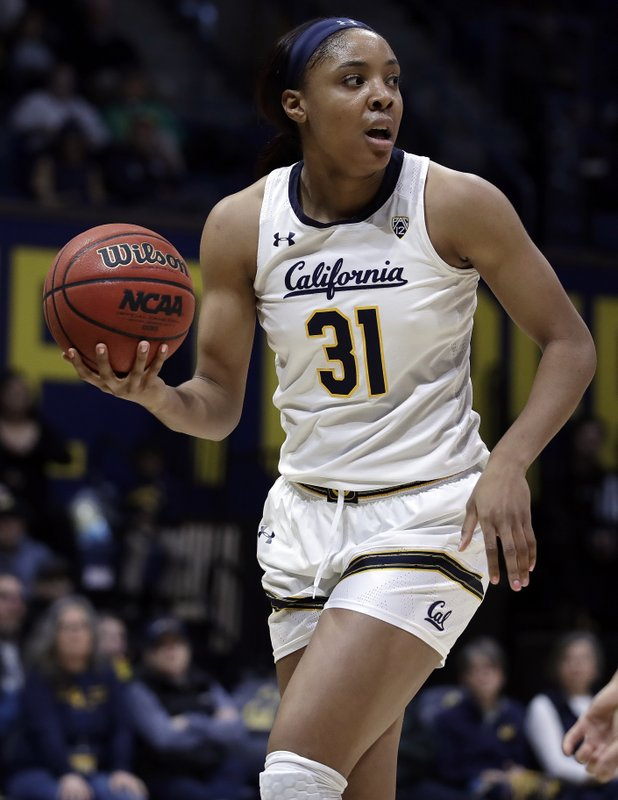 California's Kristine Anigwe looks to pass against the ball against Oregon during the first half of an NCAA college basketball game Friday, Feb. (AP Photo/Ben Margot)