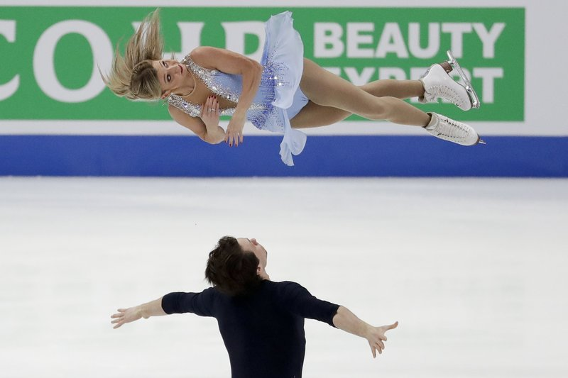 Kirsten Moore-Towers and Michael Marinara, of Canada, perform during the pairs short program at the Four Continents Figure Skating Championships on Friday, Feb. (AP Photo/Chris Carlson)