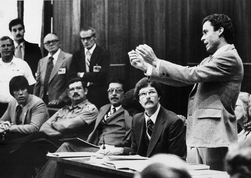 FILE - In this Monday, June 25, 1979 file photo, Ted Bundy presents a motion during his murder trial in Miami. (AP Photo)
