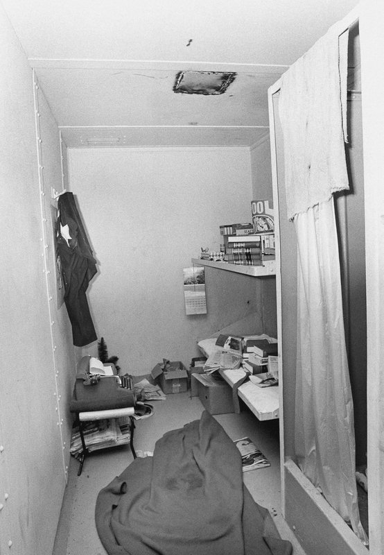 FILE - This 1977 file photo shows the jail cell from which suspected serial killer Ted Bundy escaped on Dec. (Ross Dolan/Glenwood Springs Post-Independent via AP)