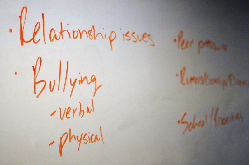 In this Nov. 15, 2018 photo, the board in a classroom is shown with key words during a Youth Aware of Mental Health session at Uplift Hampton Preparatory School in Dallas. (AP Photo/Benny Snyder)