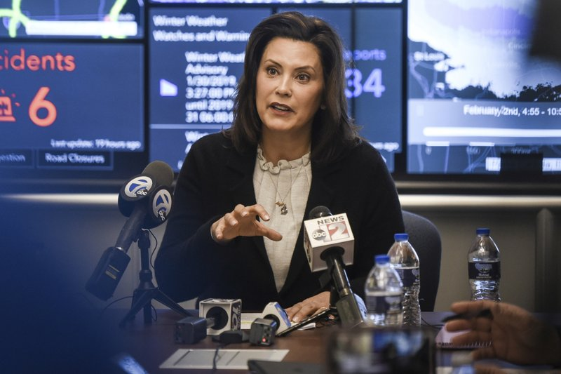 In this Jan. 31, 2019, file photo, Michigan Gov. Gretchen Whitmer speaks to the media at the Michigan State Police headquarters in Dimondale, Mich. (Matthew Dae Smith/Lansing State Journal via AP, File)