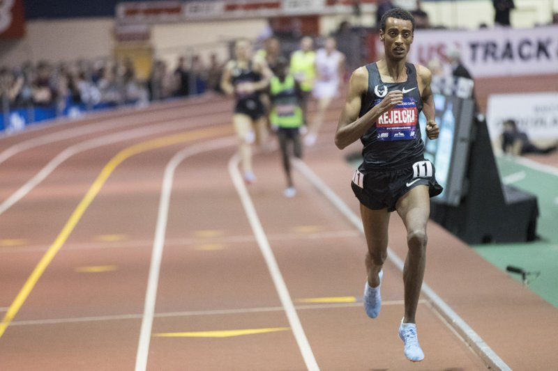 Yomif Kejelcha, of Ethiopia competes in the men's Wanamaker Mile at the Millrose Games track and field meet, Saturday, Feb. (AP Photo/Mary Altaffer)