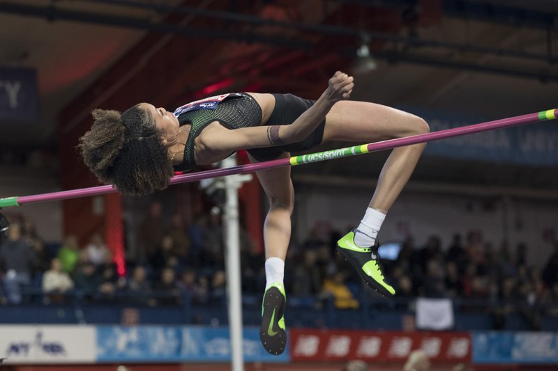 Vashti Cunningham, daughter of former NFL quarterback Randall Cunningham, competes in the in the Women's John Thomas High Jump event during the Millrose Games track and field meet, Saturday, Feb. (AP Photo/Mary Altaffer)