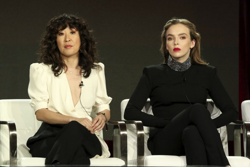 Sandra Oh, left, and Jodie Comer participate in the