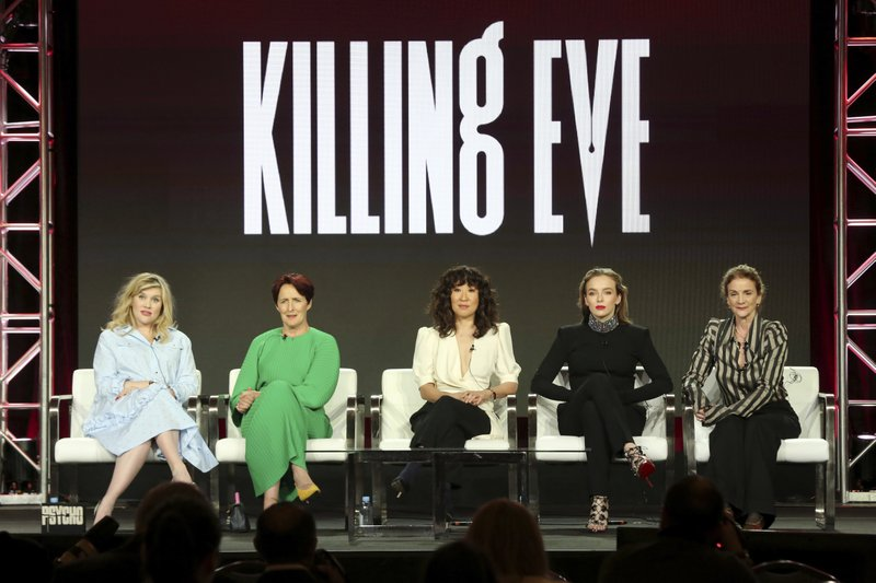Emerald Fennell, from left, Fiona Shaw, Sandra Oh, Jodie Comer and Sally Woodward Gentle participate in the