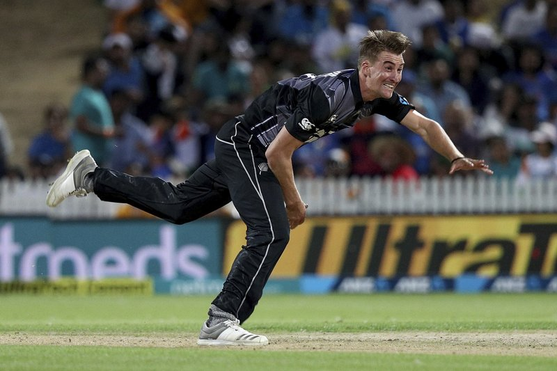 New Zealand's Blair Tickner bowls against India during their twenty/20 cricket international at Seddon Park in Auckland, New Zealand, Sunday, Feb. (AP Photo/David Rowland)