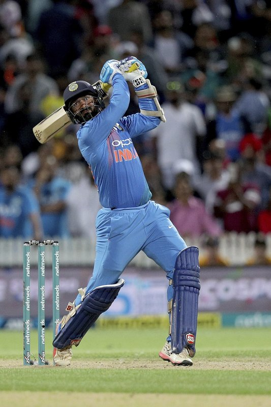 India's Dinesh Karthik bats during their twenty/20 cricket international against New Zealand at Seddon Park in Auckland, New Zealand, Sunday, Feb. (AP Photo/David Rowland)