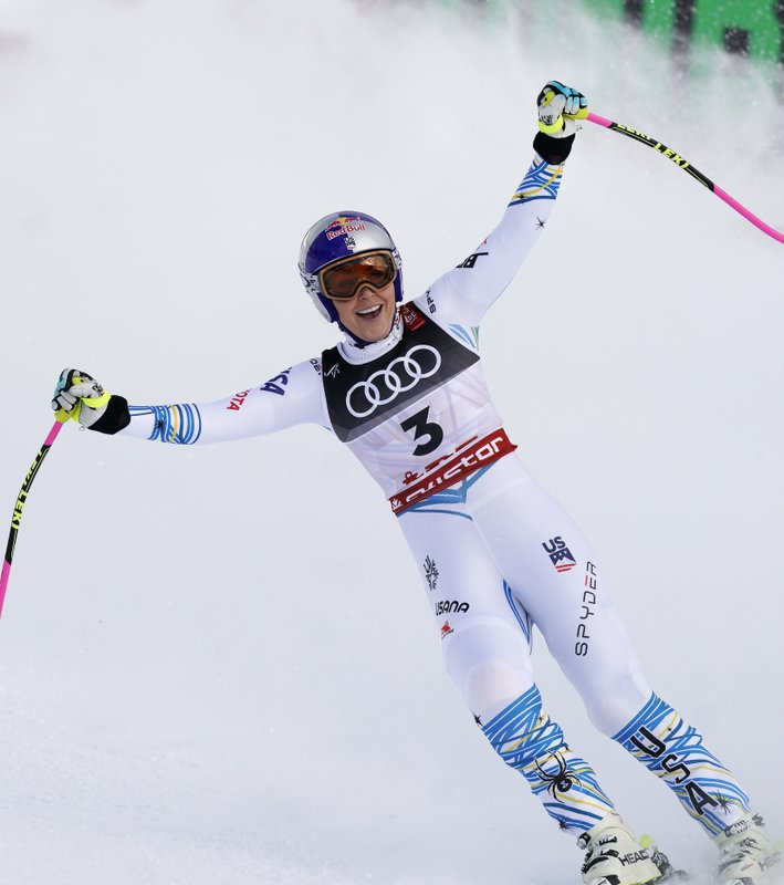 United States' Lindsey Vonn smiles in the finish area after the women's downhill race, at the alpine ski World Championships in Are, Sweden, Sunday, Feb. (AP Photo/Giovanni Auletta)