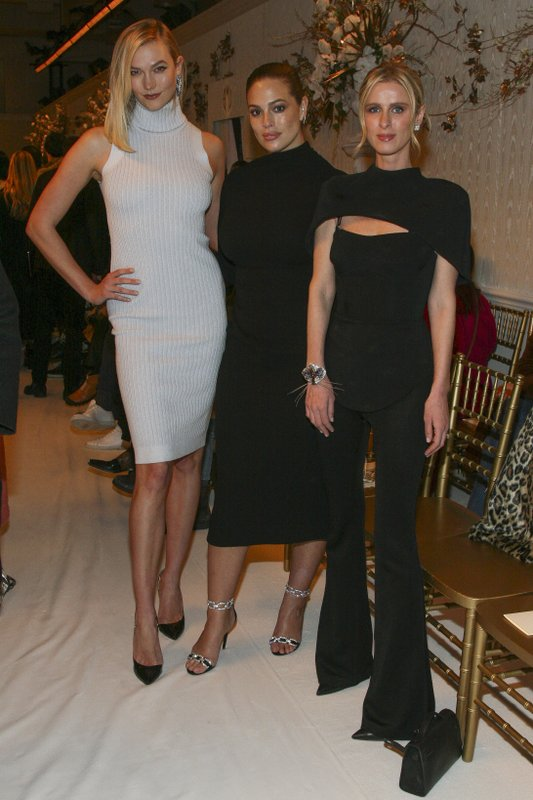 Karlie Kloss, from left, Ashley Graham and Nicky Hilton Rothschild attend the NYFW Fall/Winter 2019 Brandon Maxwell fashion show at Hotel Pennsylvania on Saturday, Feb. (Photo by Andy Kropa/Invision/AP)