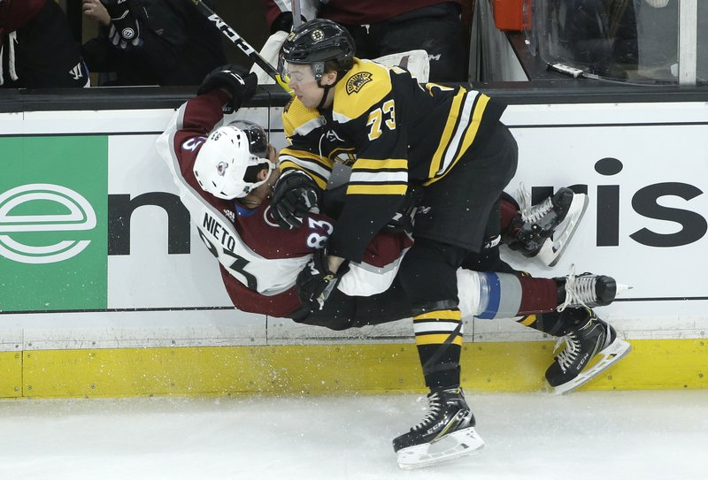 Colorado Avalanche's Matt Nieto (83) and Boston Bruins' Charlie McAvoy (73) collide sending them both to the ice during the second period of an NHL hockey game, Sunday, Feb. (AP Photo/Steven Senne)