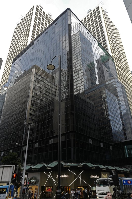 This Monday, Feb. 4, 2019 photo shows the exterior of the address 3 Pedder St., Central in Hong Kong. (AP Photo/Vincent Vu)