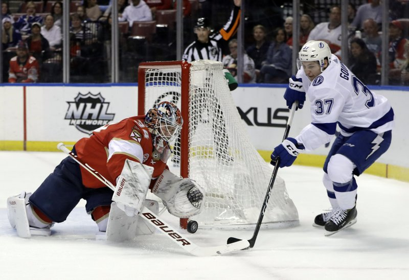 Florida Panthers goaltender James Reimer (34) stops a shot by Tampa Bay Lightning center Yanni Gourde (37) during the first period of an NHL hockey game, Sunday, Feb. (AP Photo/Lynne Sladky)