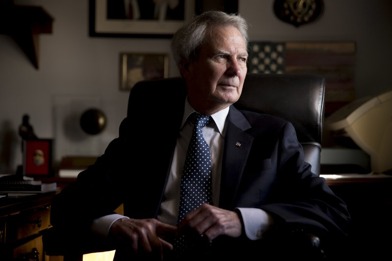 FILE - In this Wednesday, Oct. 25, 2017, file photo, U.S. Rep. Walter Jones Jr., R-N.C. poses for a portrait in his office on Capitol Hill, in Washington. (AP Photo/Andrew Harnik, File)