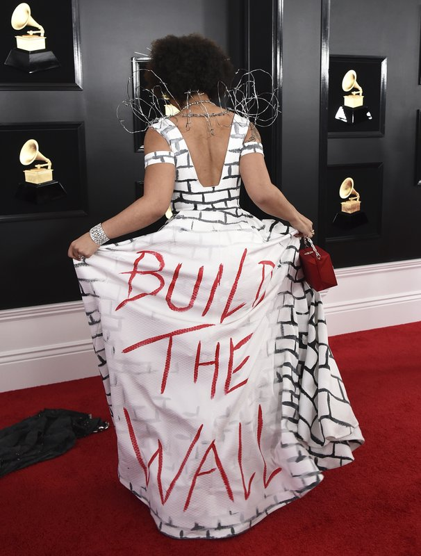 Joy Villa arrives at the 61st annual Grammy Awards at the Staples Center wearing a dress that reads