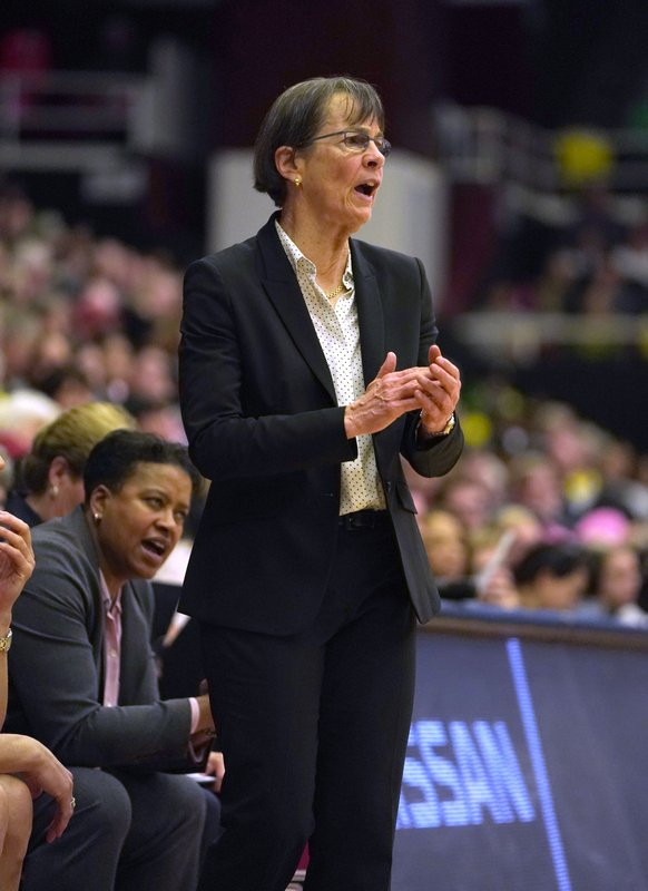 Stanford head coach Tara VanDerveer calls a play from the bench during the second half of an NCAA college basketball game against Oregon, Sunday, Feb. (AP Photo/Tony Avelar)