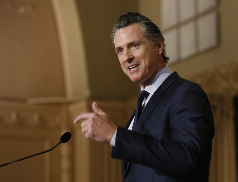 FILE - In this Jan. 17, 2019 file photo, Gov. Gavin Newsom speaks at the California Legislative Black Caucus Martin Luther King Jr. (AP Photo/Rich Pedroncelli, File)