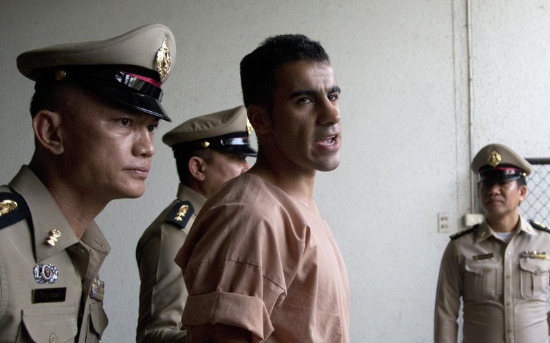 FILE - In this Monday, Feb. 4, 2019, file photo, refugee soccer player Bahraini Hakeem al-Araibi leaves the criminal court in Bangkok, Thailand. (AP Photo/Sakchai Lalit, File)