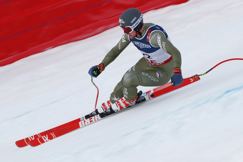 United States' Ryan Cochran Siegle speeds down the course during the downhill portion of the men's combined, at the alpine ski World Championships in Are, Sweden, Monday, Feb. (AP Photo/Gabriele Facciotti)