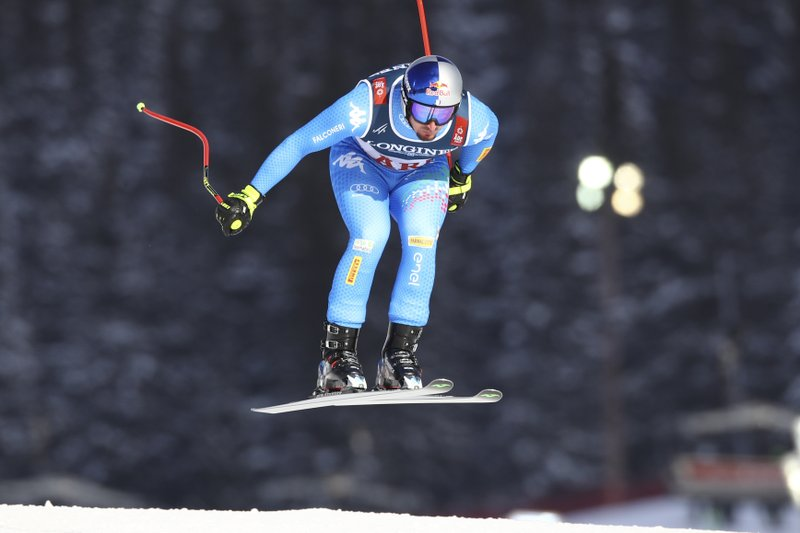 Italy's Dominik Paris speeds down the course during the downhill portion of the men's combined, at the alpine ski World Championships in Are, Sweden, Monday, Feb. (AP Photo/Marco Trovati)