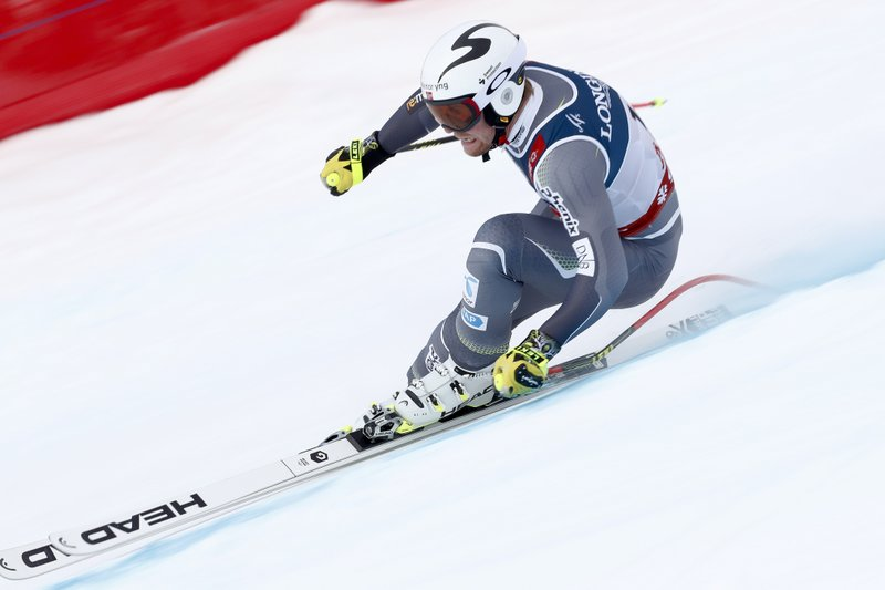 Norway's Aleksander Aamodt Kilde speeds down the course during the downhill portion of the men's combined, at the alpine ski World Championships in Are, Sweden, Monday, Feb. (AP Photo/Gabriele Facciotti)