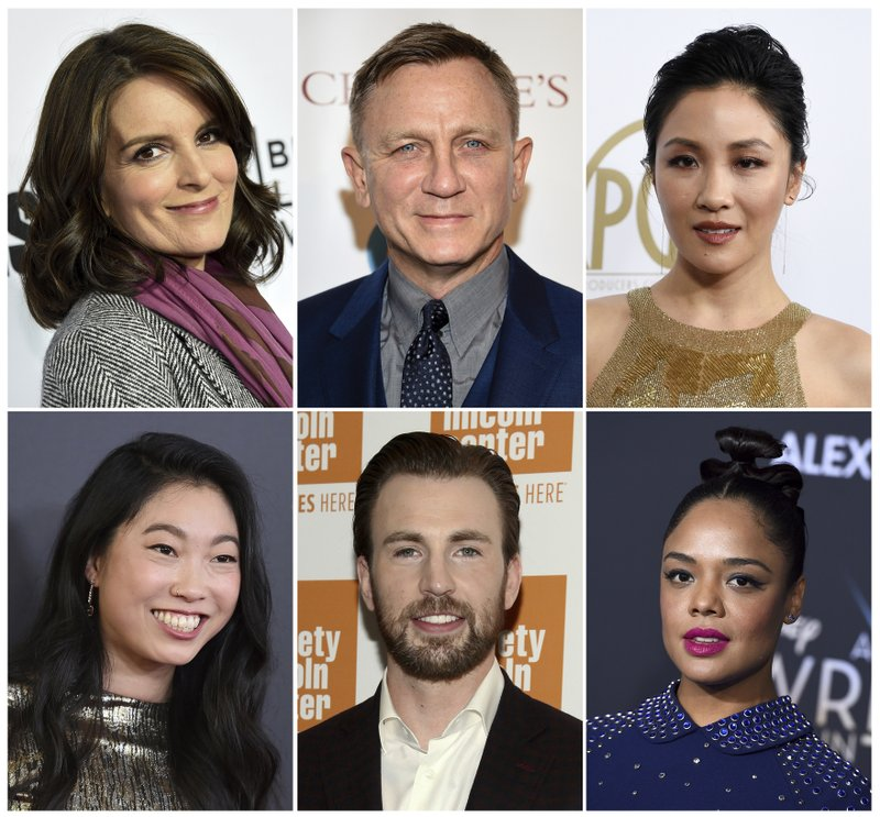 This combination photo shows, top row from left, Tina Fey, Daniel Craig, Constance Wu, and bottom row from left, Awkwafina, Chris Evans and Tessa Thompson, who will be presenters at the 91st Academy Awards on Feb. (AP Photo)