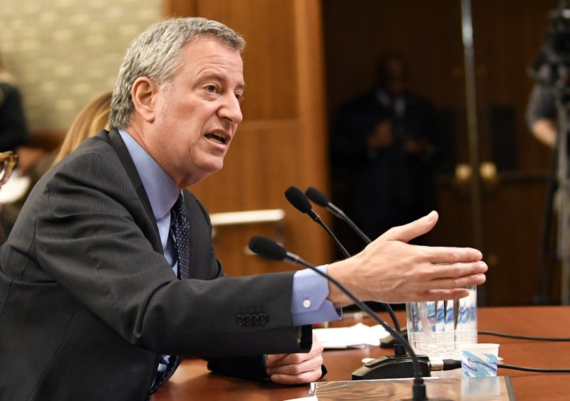 New York City Mayor Bill de Blasio testifies during a joint legislative budget hearing on local government Monday, Feb. (AP Photo/Hans Pennink)