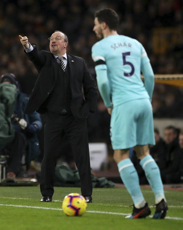 Newcastle United manager Rafael Benitez give instructions during the English Premier League soccer match between Wolverhampton Wanderers and Newcastle United, at Molineux, in Wolverhampton, England, Monday, Feb. (Nick Potts/PA  via AP)