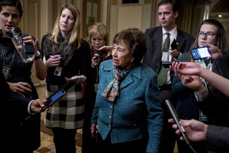 House Appropriations Committee Chair Nita Lowey, D-N.Y., speaks to reporters as she arrives for a closed-door meeting at the Capitol as bipartisan House and Senate bargainers trying to negotiate a border security compromise in hope of avoiding another government shutdown on Capitol Hill, Monday, Feb. (AP Photo/Andrew Harnik)