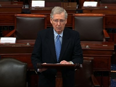 Senate Majority Leader Mitch McConnell is blaming Democrats and their
