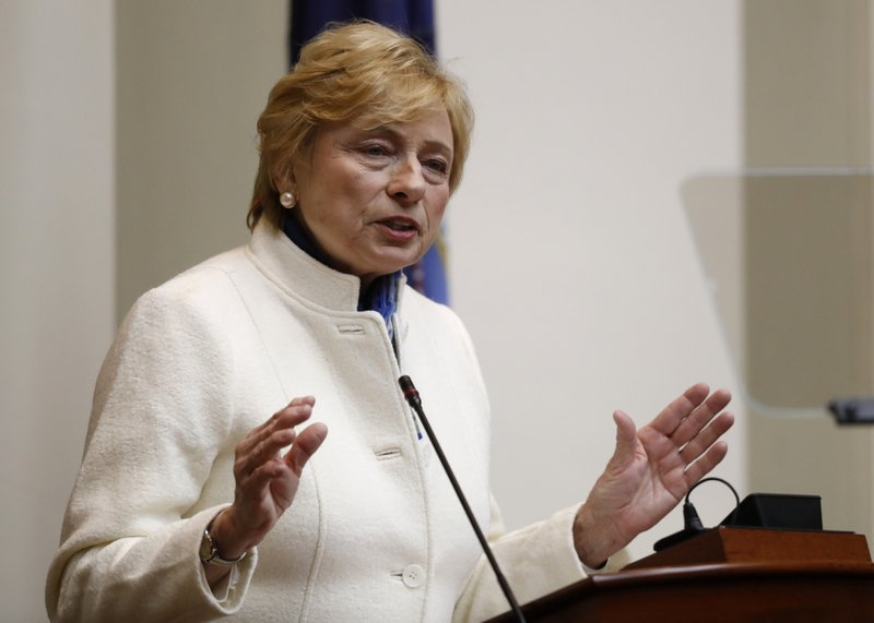 Gov. Janet Mills delivers her State of the Budget address to the Legislature, Monday, Feb. 11, 2019, at the State House in Augusta, Maine. (AP Photo/Robert F. Bukaty)