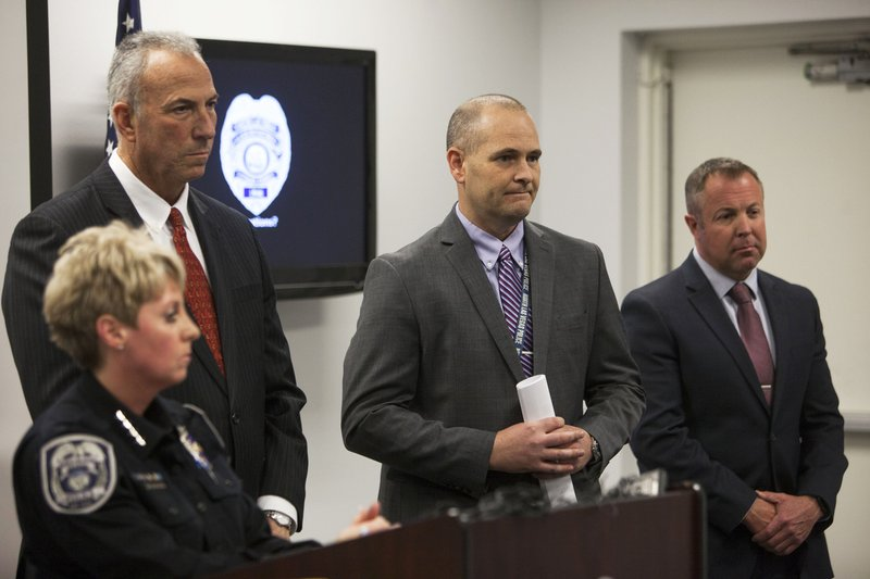 North Las Vegas Police Department Chief Pamela Ojeda, from left, District Attorney Steve Wolfson, Detective Steven Wiese and Detective Sean Sprague discuss new discoveries in the case of the disappearance of the 3-year-old Francillon Pierre, who vanished in 1986, at the North Las Vegas Detective Bureau in North Las Vegas, Monday, Feb. (Rachel Aston/Las Vegas Review-Journal via AP)