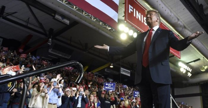 President Donald Trump gestures to the crowd as he speaks during a rally in El Paso, Texas, Monday, Feb. (AP Photo/Susan Walsh)