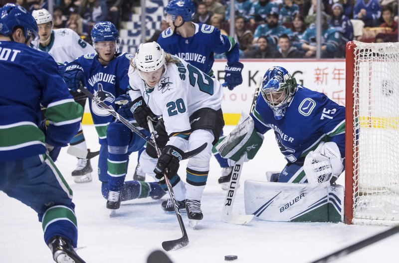 San Jose Sharks' Marcus Sorensen (20), of Sweden, reaches for the puck in front of Vancouver Canucks goalie Michael DiPietro (75) as Vancouver's Elias Pettersson (40), of Sweden, watches during the first period of an NHL hockey game in Vancouver, British Columbia, on Monday, Feb. (Darryl Dyck/The Canadian Press via AP)