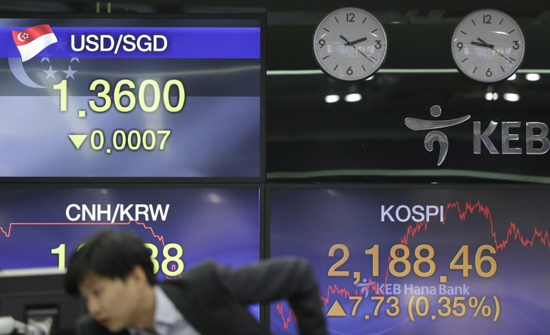 A currency trader watches the computer monitors near the screens showing the Korea Composite Stock Price Index (KOSPI), right, and the foreign exchange rates at the foreign exchange dealing room in Seoul, South Korea, Tuesday, Feb. (AP Photo/Lee Jin-man)