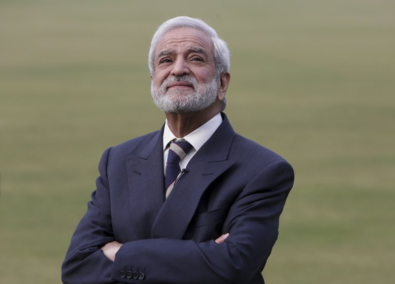 In this Feb. 10, 2019 photo, Pakistan Cricket Board chairman Ehsan Mani listens to a question during an interview with the Associated Press in Lahore, Pakistan. (AP Photo/K.M. Chaudary)