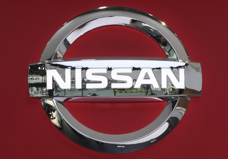 In this Feb. 5, 2019, photo, the logo of Nissan Motor Co., is seen at its showroom in Tokyo. Nissan reported on Tuesday, Feb. (AP Photo/Koji Sasahara)