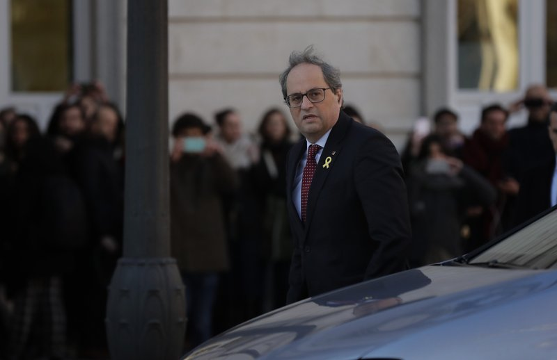 Catalan regional President Quim Torra, arrives at the Spanish Supreme Court in Madrid, Tuesday, Feb. 12, 2019. (AP Photo/Manu Fernandez)