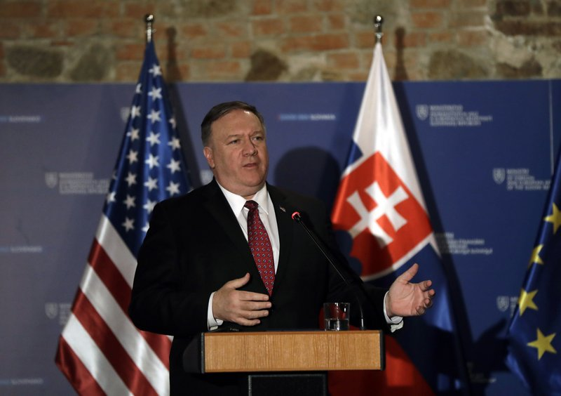 US Secretary of State Mike Pompeo addresses media during a press conference in Bratislava, Slovakia, Tuesday, Feb. (AP Photo/Petr David Josek)