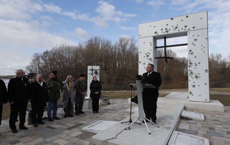 US Secretary of State Mike Pompeo delivers a speech at the Freedom Gate memorial in Bratislava, Slovakia, Tuesday, Feb. (AP Photo/Petr David Josek)
