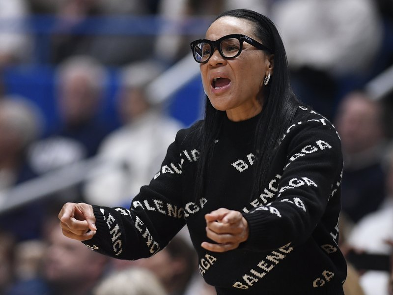 South Carolina head coach Dawn Staley reacts during the first half of an NCAA college basketball game against Connecticut, Monday, Feb. (AP Photo/Jessica Hill)