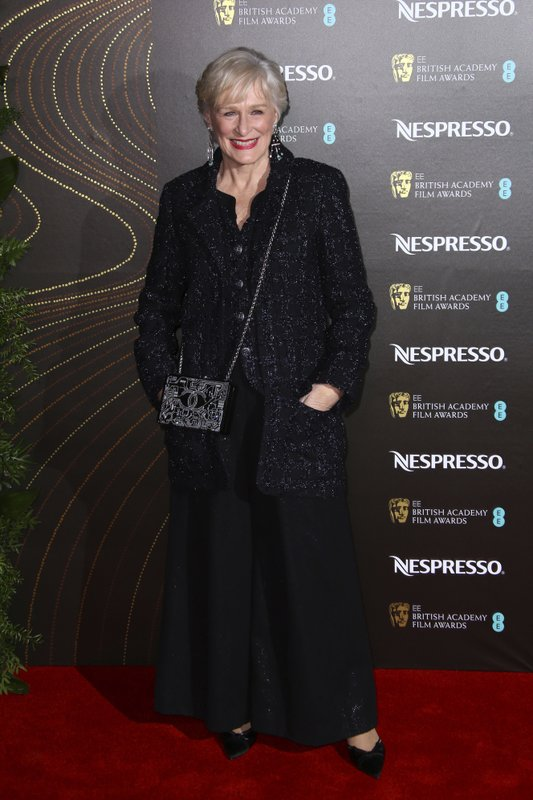 Actress Glenn Close poses for photographers upon arrival at the BAFTA Nominees Party in London, Saturday, Feb. (Photo by Joel C Ryan/Invision/AP)